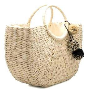 "Melie Bianco ""Erin"" Natural Straw Tote Bag w/Poms"